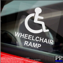 1 x Wheelchair Ramp-Window Sticker-Sign,Car,Warning,Notice,Logo,Disabled,Disability,Badge,Sticker
